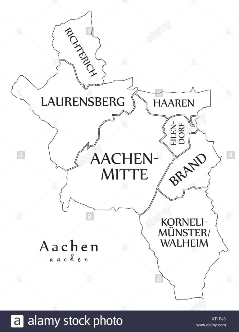 Modern City Map - Aachen City Of Germany With Boroughs And Titles De for Aachen Germany Map