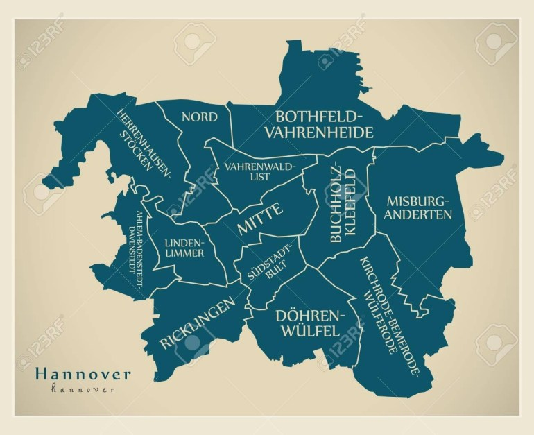 Modern City Map - Hannover City Of Germany With Boroughs And.. inside Hannover Germany Map