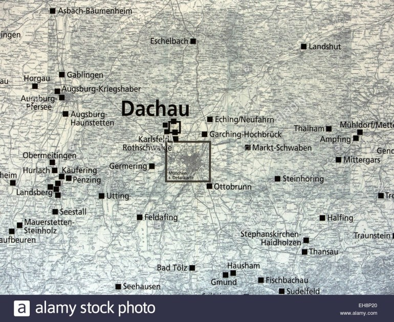 Munich Germany Map Of Dachau Concentration Camp Stock Photo intended for Map Concentration Camps In Germany