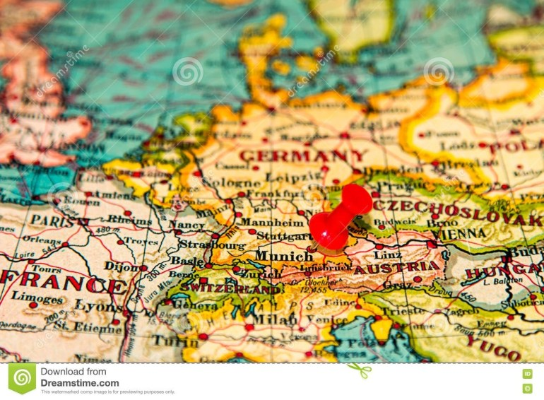 Munich, Germany Pinned On Vintage Map Of Europe Stock Photo - Image within Munich Germany Map Of Europe