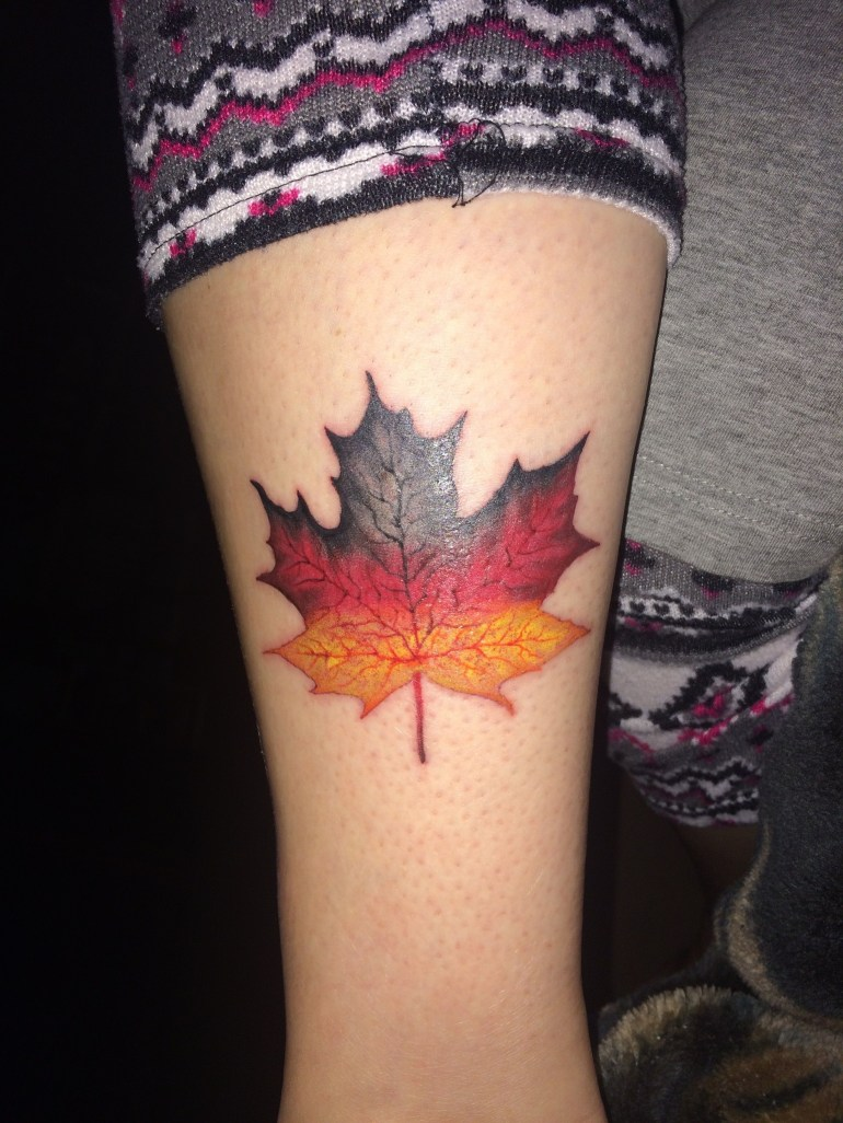 My New Tattoo Showing My Heritage - German Maple Leaf | Tattoos with Maple Tree In German