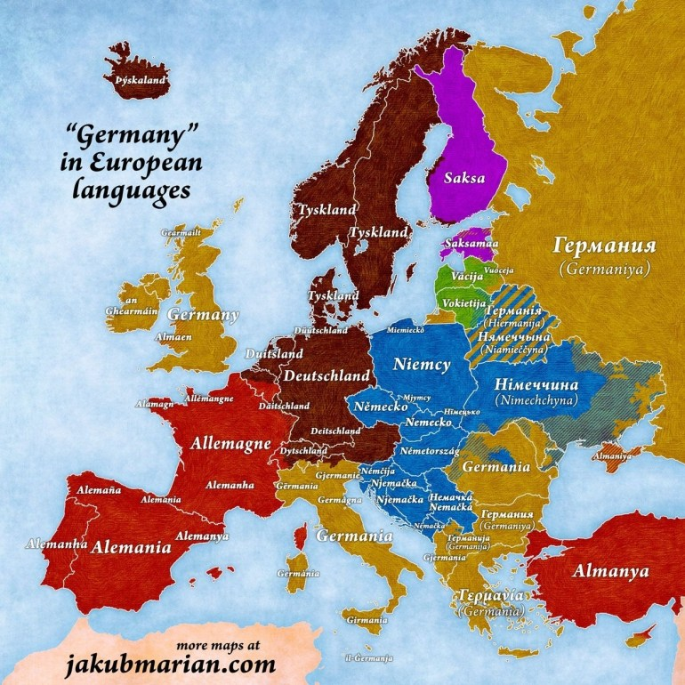 Names Of Germany In European Languages | Maps | European Languages intended for Map Of Europe In German Language