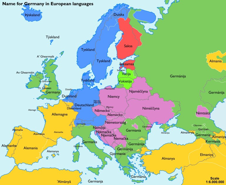 Names Of Germany - Wikipedia intended for Map Of Germany And Surrounding Countries In German
