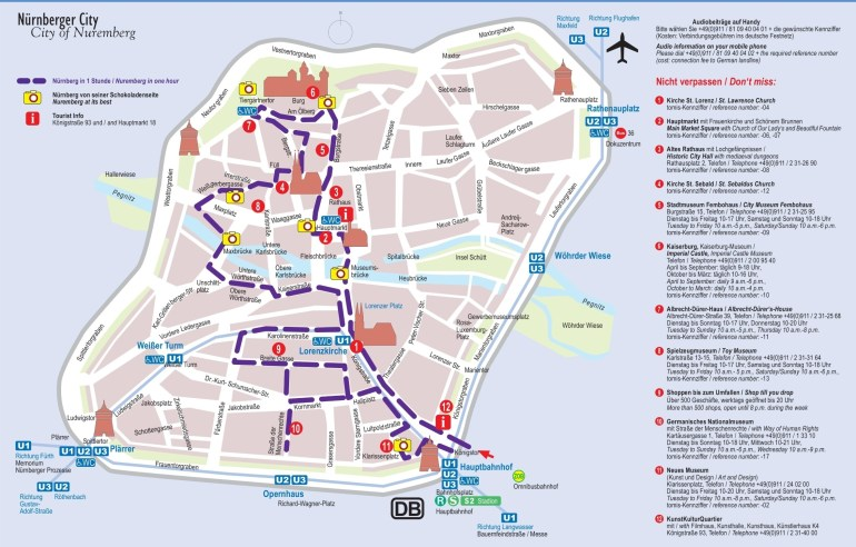 Nürnberg Tourist Attractions Map in Germany Tourist Attractions Map