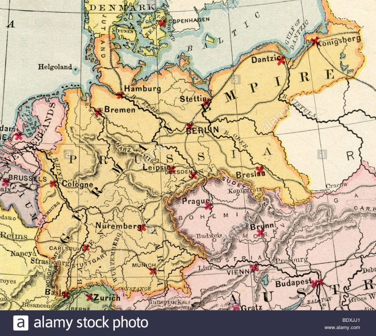 Old Map Of Germany Stock Photos & Old Map Of Germany Stock Images in Old World Map Of Germany