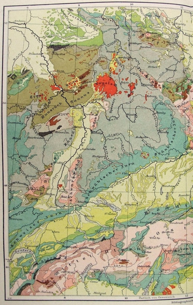 Original Geological Map Of Germany In 1892Meyers. Antique  Chromolithograph intended for Geological Map Of Germany