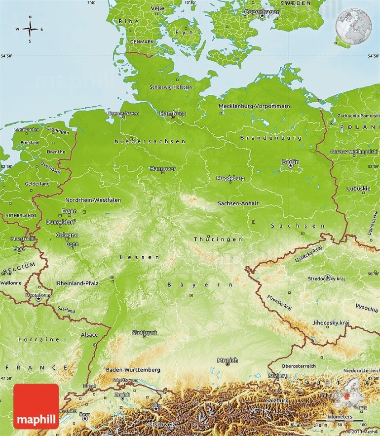 Physical Map Of Germany intended for Physical Geography Map Of Germany