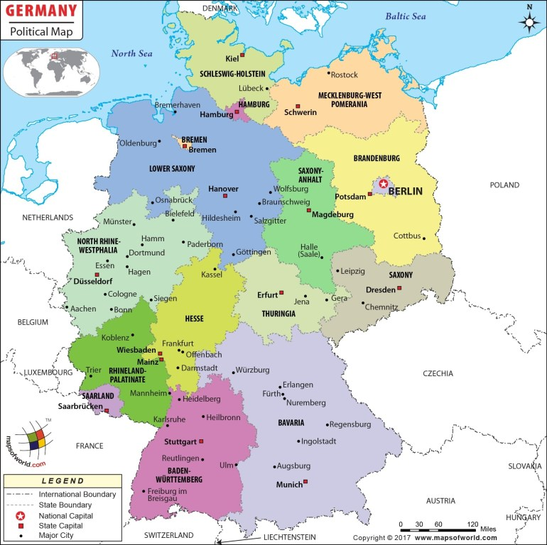 Political Map Of Germany | Germany States Map in German Map With States And Capitals