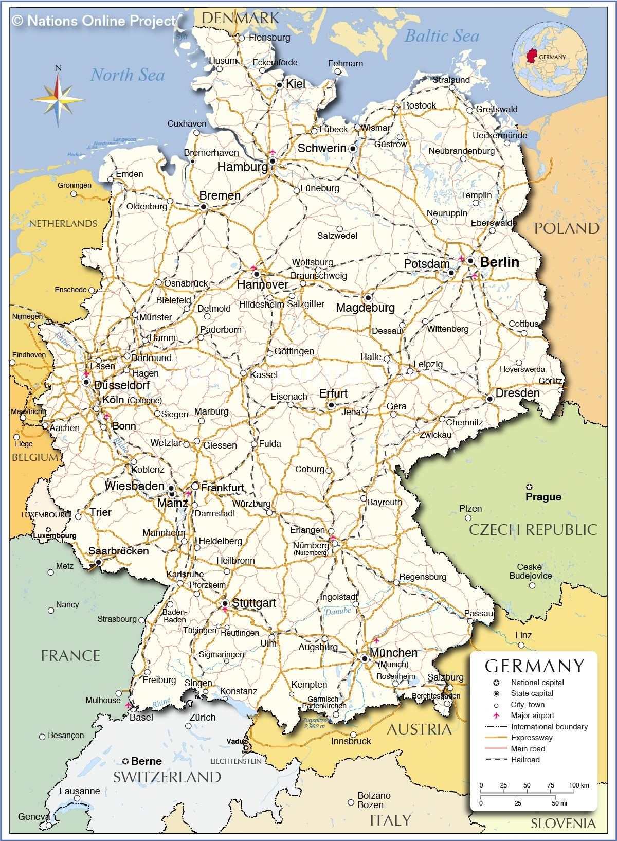 Political Map Of Germany - Nations Online Project in Map Of Countries Surrounding Germany