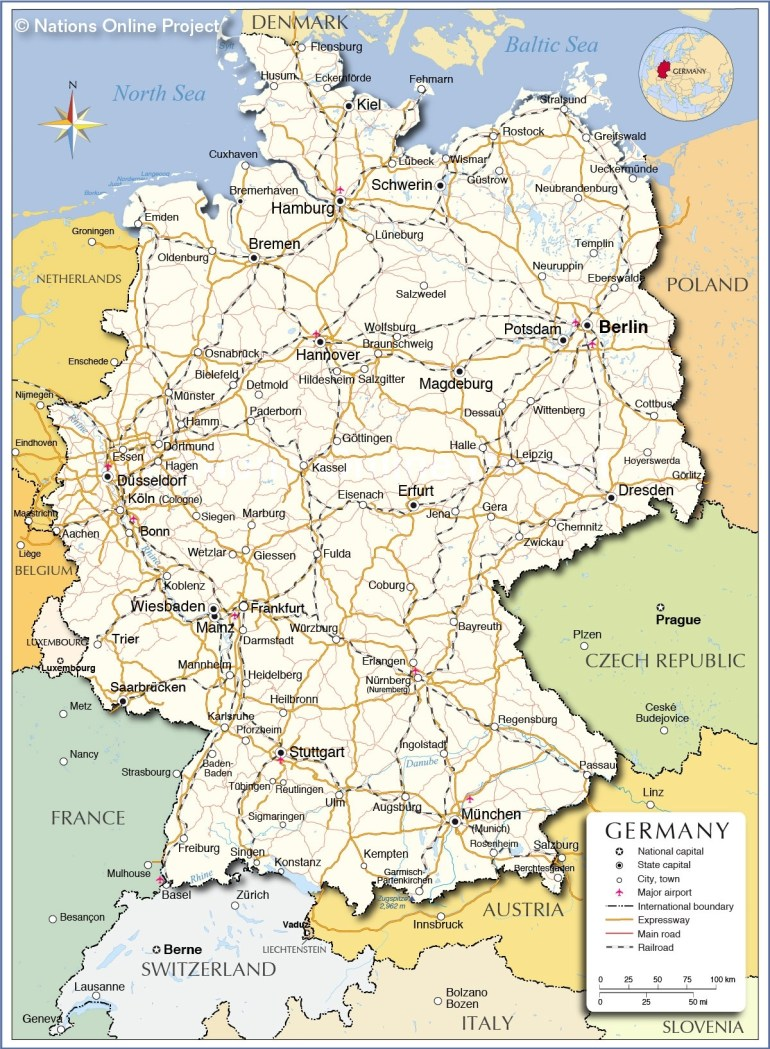 Political Map Of Germany - Nations Online Project regarding Map Of Germany And Surrounding Countries In German