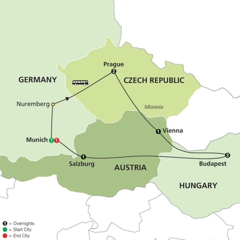 Prague, Vienna And Budapest Tour regarding Map Of Germany Austria And Prague