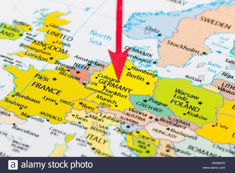 Red Arrow Pointing Germany On The Map Of Europe Continent Stock for Munich Germany Map Of Europe