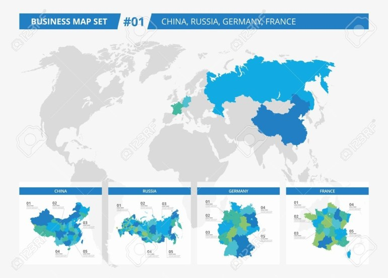 Set Of Editable Detailed Maps Of China, Russia, Germany, France.. intended for World Map Germany And Russia