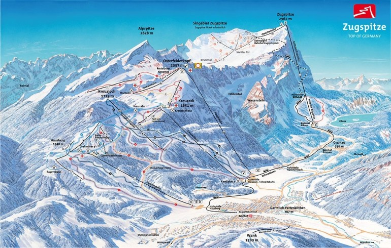 Ski Map Garmisch Partenkirchen (Germany) in Garmisch Germany Map