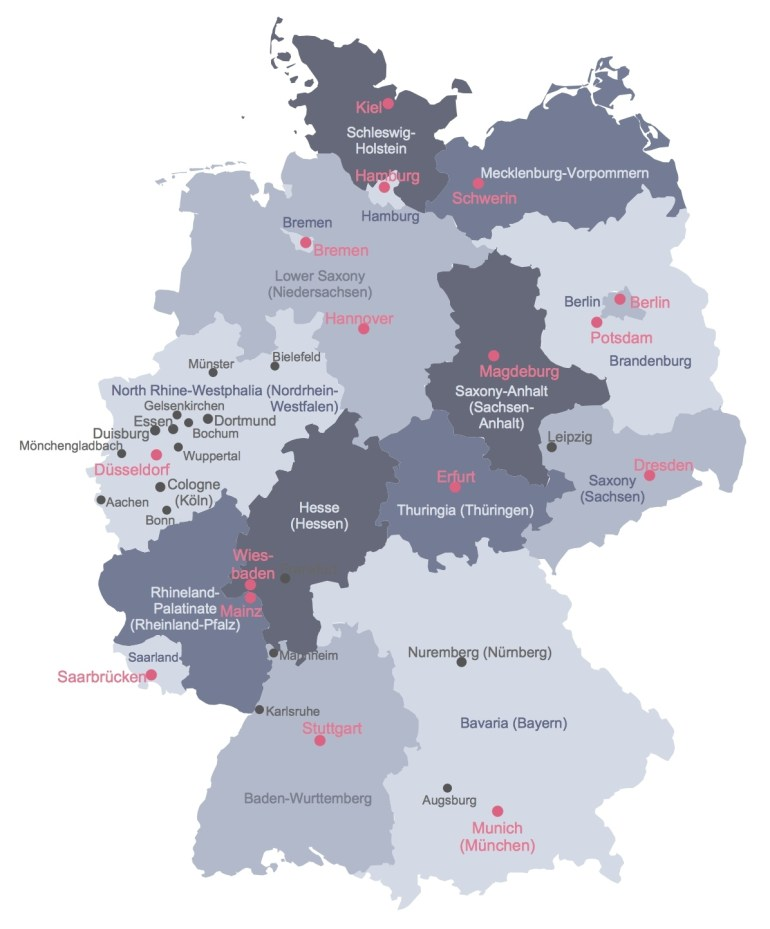 States Map Of Germany And Travel Information | Download Free States with Germany Map States Cities