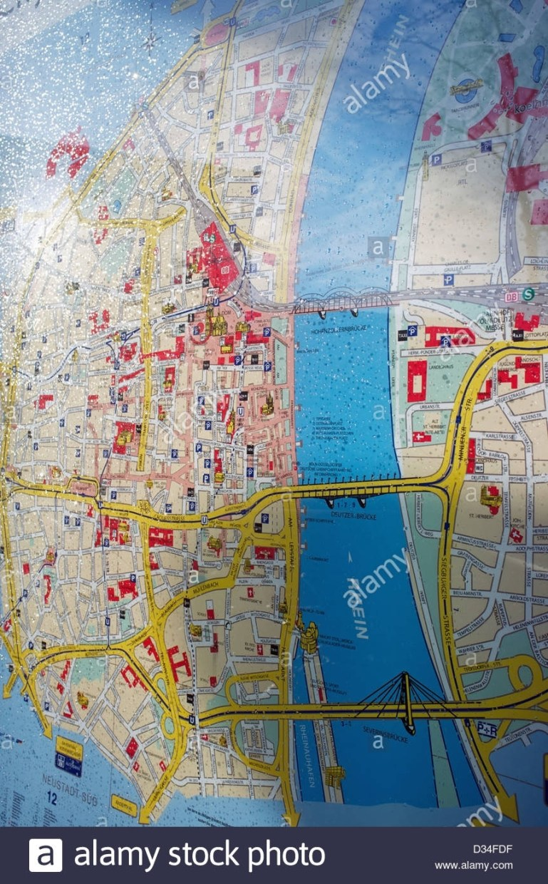 Street Map Of Cologne Germany Stock Photo: 53575019 - Alamy throughout Street Map Cologne Germany