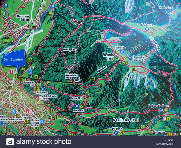 The Alps Germany Garmisch Partenkirchen Mount Wank Mountain Map with regard to Garmisch Germany Map
