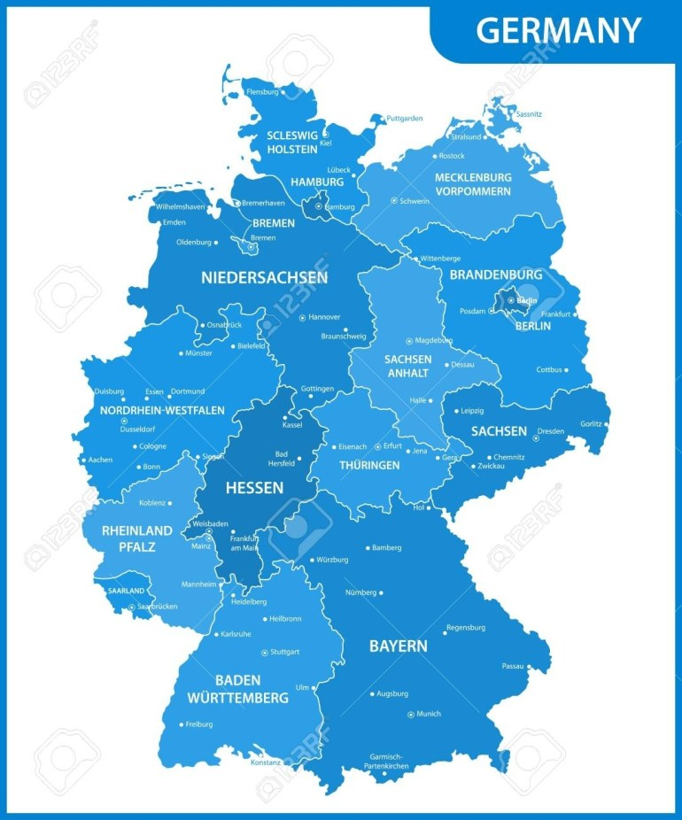 The Detailed Map Of The Germany With Regions Or States And Cities,.. in Map Of Germany States And Cities