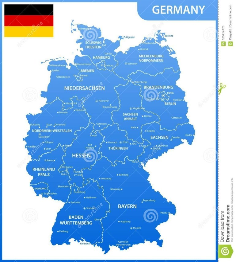 The Detailed Map Of The Germany With Regions Or States And Cities intended for Map Of Germany With States And Cities