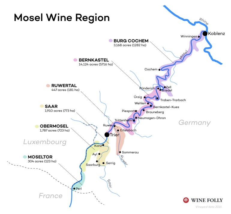 The Mosel Valley Wine Guide | Wine Folly in Map German Wine Regions