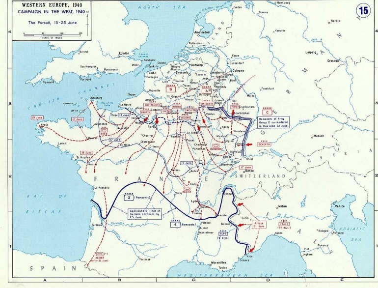 Today In World War Ii History—June 25, 1940 & 1945 | Wwii On The in Map Of Germany During World War Ii
