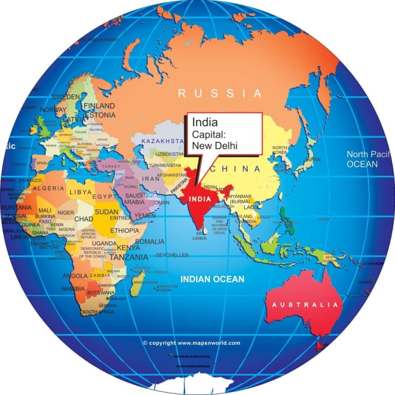 Where Is India?, World Globe in World Map Germany And India
