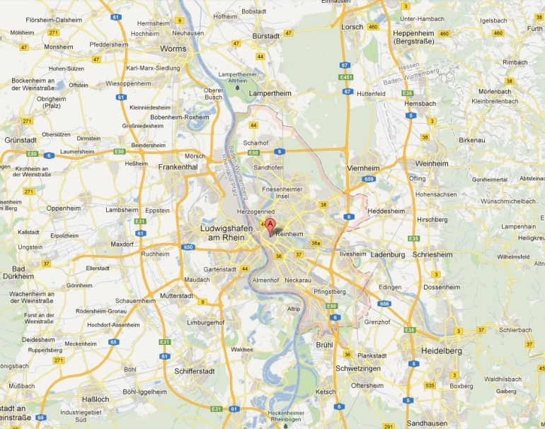 Mannheim Map And Mannheim Satellite Image within Google Maps Katharinenhospital Stuttgart