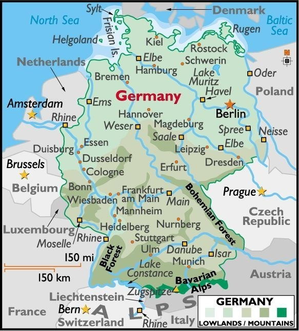 Map Of Germany Showing Cities   Map Of Germany with regard to Stuttgart On Map Of Europe