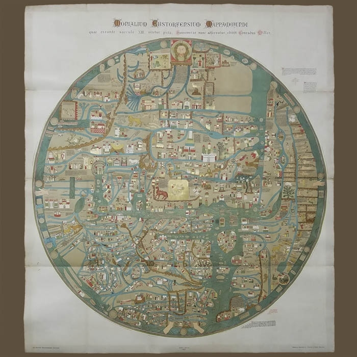 Map, World, Ebstorf Medieval Map, Chromolithograph throughout Stuttgart On World Map