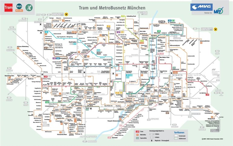 Munich Tram And Bus Map intended for Stuttgart Bus Route Map