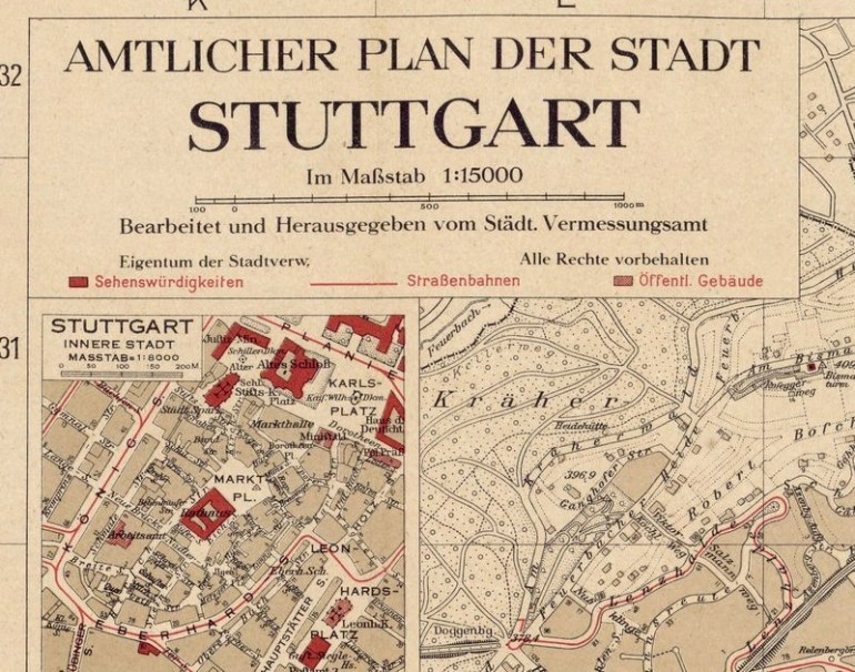 Old Map Of Stuttgart Germany 1925 Vintage Map - Vintage intended for Stuttgart Germany On A Map