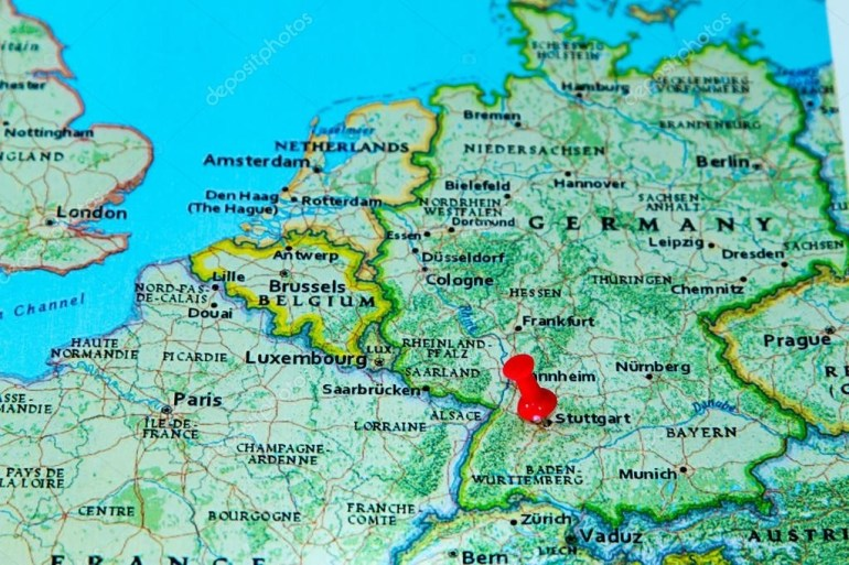 Stuttgart, Germany Pinned On A Map Of Europe — Stock Photo intended for Map Of Stuttgart Germany Area