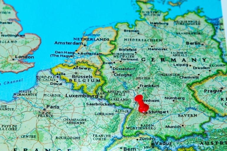 Stuttgart, Germany Pinned On A Map Of Europe Stock Photo throughout Stuttgart Location Germany Map