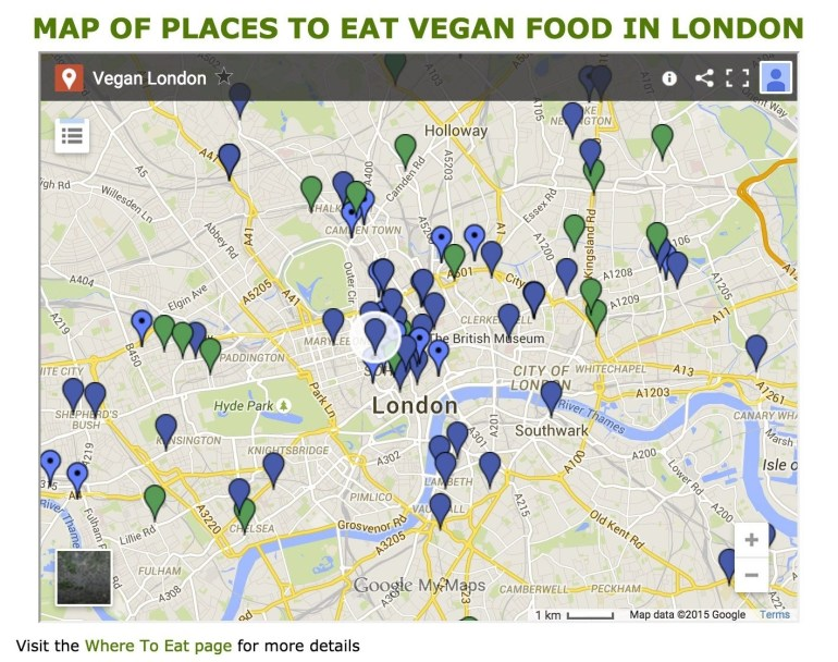 Super Handy Google Map Of Veggie Places To Eat In London within Google Maps Restaurants Stuttgart