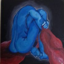 Distressed man in blue, morning the end of a relationship