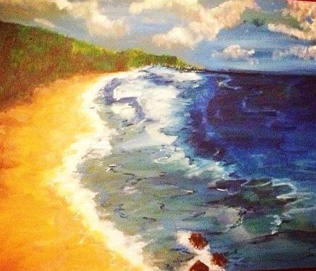 Acrylic on canvas painting of th East coast of Barbados