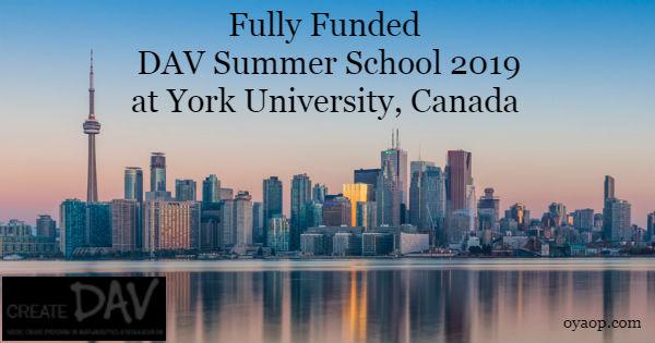 Fully Funded DAV Summer School 2019 at York University, Canada - OYA