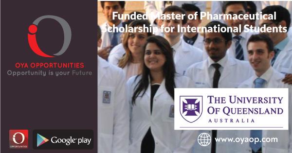 Funded Master of Pharmaceutical Scholarship for International Students