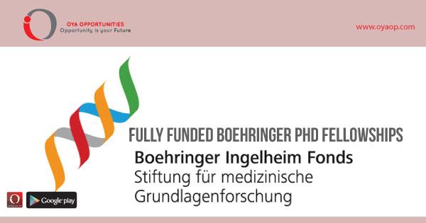 Fully Funded Boehringer PhD Fellowships, oyaop, oyaop.com, www.oyaop.com, oyaop opportunities, oya opportunities