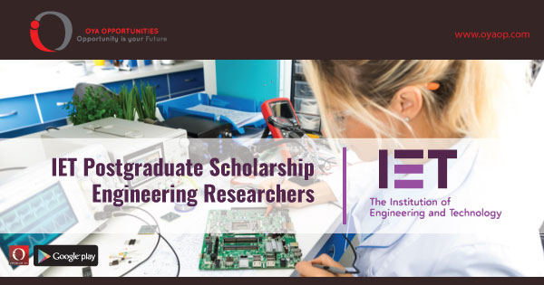 IET Postgraduate Scholarship for Engineering Researchers