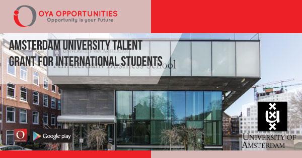 Amsterdam University Talent Grant for International Students