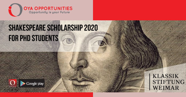 Shakespeare Scholarship 2020 for PhD Students