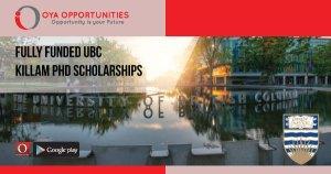 Fully Funded UBC Killam PhD Scholarships