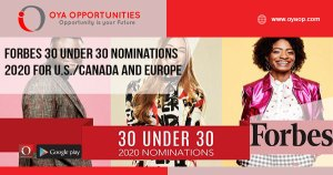 FORBES 30 Under 30 Nominations 2020 For U.S./Canada and Europe