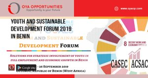 Youth and Sustainable Development Forum 2019 in Benin
