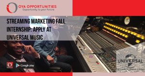 Streaming Marketing Fall Internship | Apply at Universal Music