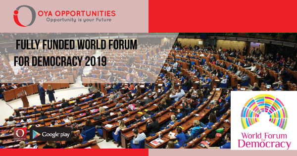 Fully Funded World Forum for Democracy 2019 - OYA Opportunities