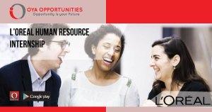 Paid L'Oreal Human Resource Internship