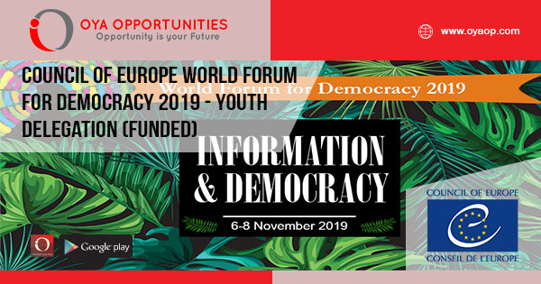 Council of Europe World Forum for Democracy 2019 - Youth Delegation (Funded)