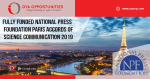 Fully Funded National Press Foundation Paris Accords of Science Communication 2019
